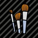 brushes, makeup art, beauty, illustration