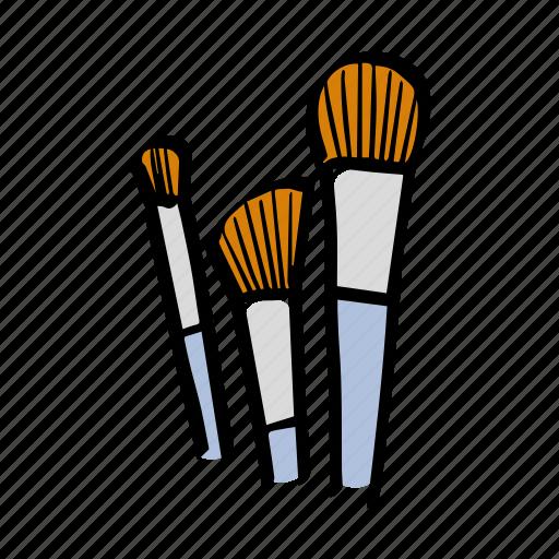 beauty, brushes, illustration, makeup art icon