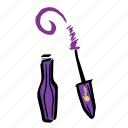 bottle, brush, illustration, makeup, mascara, purple icon