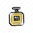 bottle, fragrance, gold, illustration, perfume icon