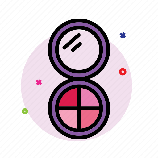 beauty care, cosmetics, face powder, makeup kit icon