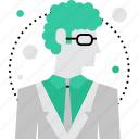 curly, male, man, person, style, teacher, tutor icon