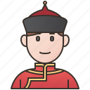 attire, deel, man, mongolia, traditional icon