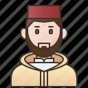 djellaba, hood, man, morocco, traditional icon