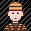 clothing, man, peru, poncho, traditional icon