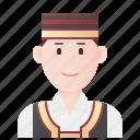 costume, croatia, ethnic, man, traditional icon