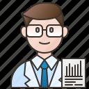 scientist, specialist, analyzer, data, expert icon