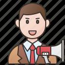 specialist, communication, announcer, advertising, speaker icon