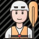 activity, adventure, canoeing, kayaking, man icon