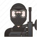 action, game, paintball, teammate, uniform icon