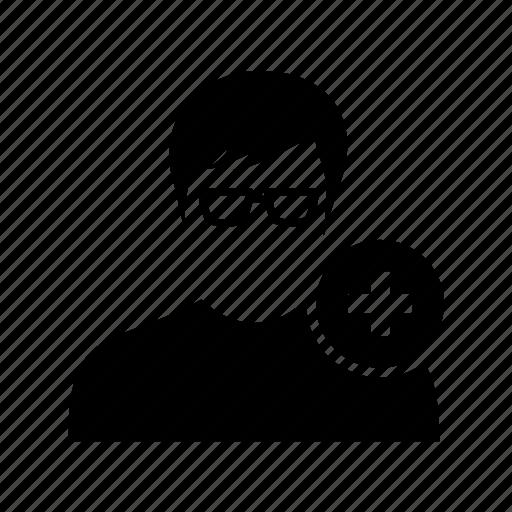 add, avatar, male, new, plus, profile, user icon