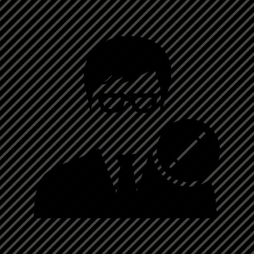 avatar, client, edit, male, man, pencil, user icon