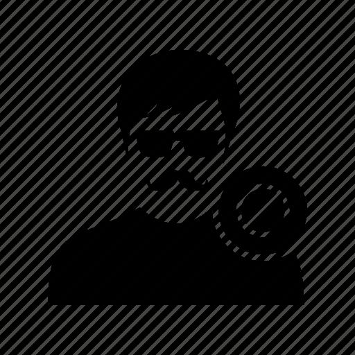 banned, block, block user, disable, man, mustache, person icon