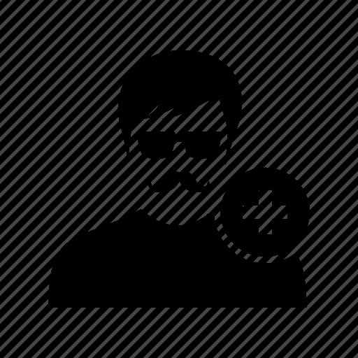 add, avatar, mustache, new, plus, profile, user icon