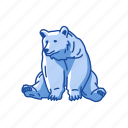 animal, bear, brown bear, kodiak bear, mammal, sitting bear icon
