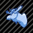 animal, bull moose, head, mammal, moose, moose antlers, moose head icon