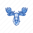 animal, antlers, elk, mammal, moose, moose head, solitary animal icon
