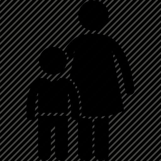 adult, child, children, kid, mother, parent, son icon