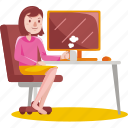 woman, working, computer, work, home, office, business