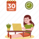 woman, working, laptop, work, home, office, business