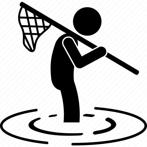 catching, fish, net, pond, researcher, river, species icon