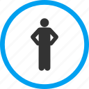 akimbo, along, leader, person, pose, stand, wait icon