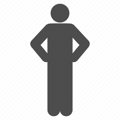 arms akimbo, body, body language, no job, pose, stand, standing icon