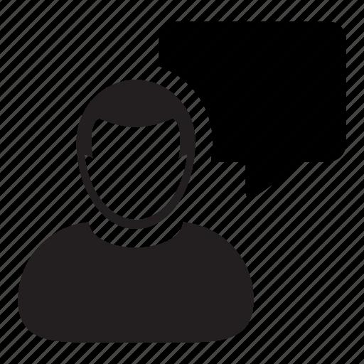avatar, bubble, chat, man, message, speech, user icon