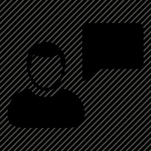 avatar, bubble, chat, man, message, person, speech icon