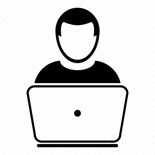 computer, employee, laptop, leader, manager, user, worker icon