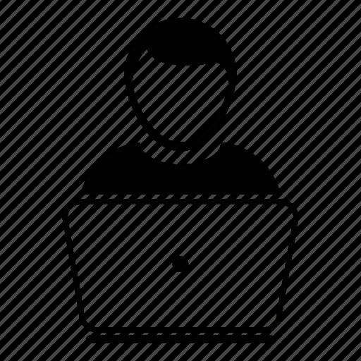 computer, employee, human, laptop, man, user, worker icon