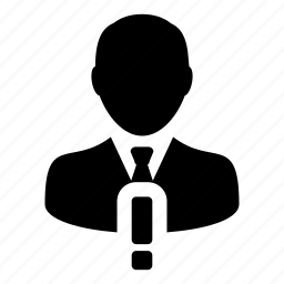 alert, business, man, person, profile, user, warning icon