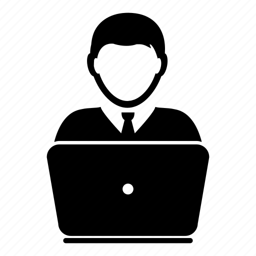 business, computer, device, laptop, man, profile, user icon