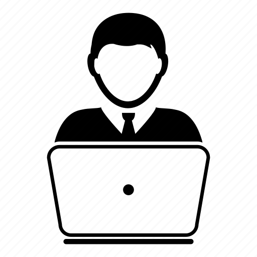 businessman, computer, device, laptop, man, user, worker icon