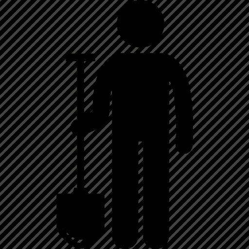 equipment, gardening, holding, labor, man, spade, tool icon