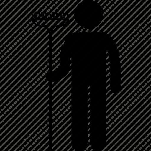 equipment, gardener, gardening, holding, man, rake, tool icon