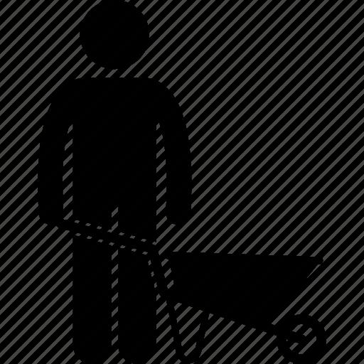 equipment, gardening, labour, man, tool, wheelbarrow, worker icon