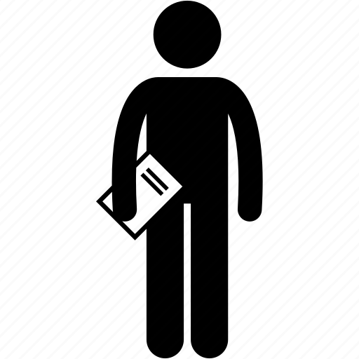 book, document, holding, man, paper, report icon
