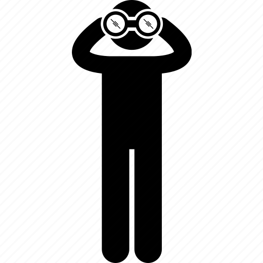 binocular, finding, holding, man, people, search, vision icon