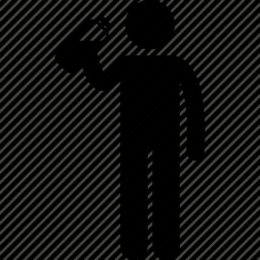bottle, drink, holding, man, tumbler, water icon