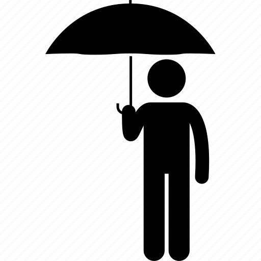 holding, man, people, rain, raining, umbrella icon