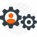 cogs, configure, gears, person, profile settings, settings, user icon icon