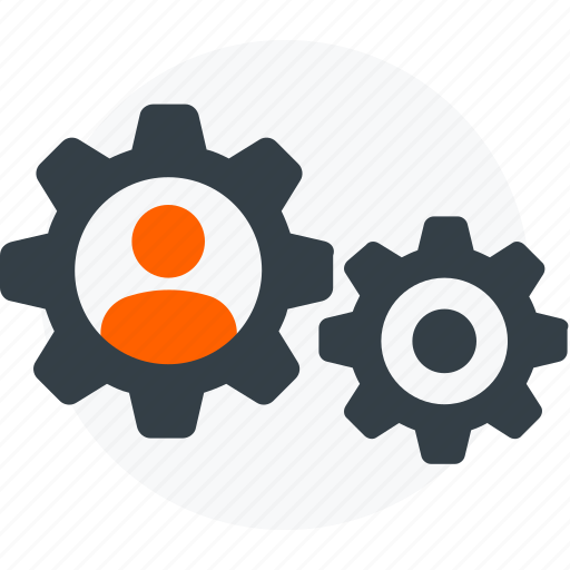 cogs, configure, gears, person, profile settings, settings, user icon icon