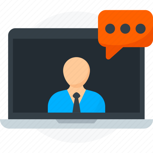 chat, communication, laptop, media, online, social, video icon icon