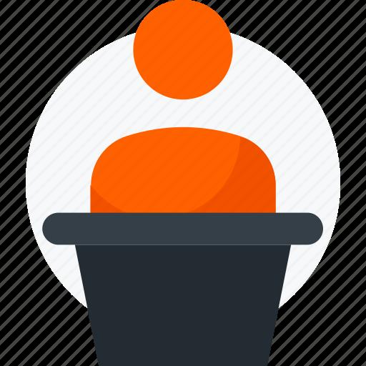 lecture, presentation, speech, talking, teacher icon icon