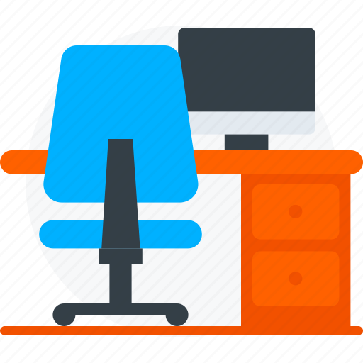 computer, desk, office, place, table, workplace, workspace icon icon