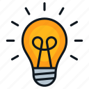 bright, bulb, idea, innovation, light icon