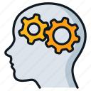 gears, head, idea, thinking, thought icon