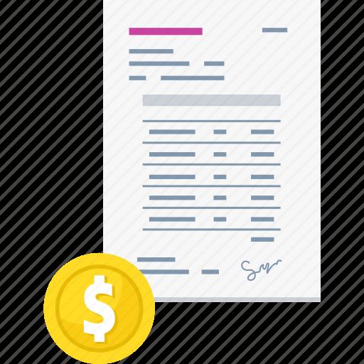 bill, billing, finance, invoice, money, payment icon