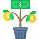 business, finance, growth, money, plant, tree icon